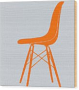 Eames Fiberglass Chair Orange Wood Print by Naxart Studio