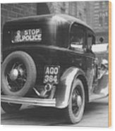 Early Police Car Wood Print by Topical Press Agency