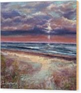 Early September Beach Wood Print by Peter R Davidson