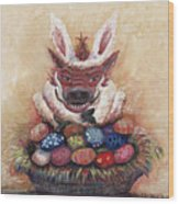 Easter Hog Wood Print by Nadine Rippelmeyer