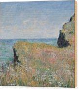 Edge Of The Cliff Pourville Wood Print by Claude Monet