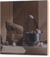 Eggs And Cardboard Wood Print by Larry Preston
