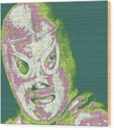 El Santo The Masked Wrestler 20130218v2m80 Wood Print by Wingsdomain Art and Photography