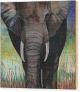 Elephant Wood Print by Anthony Burks Sr