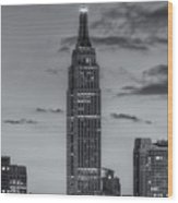 Empire State Building Morning Twilight Iv Wood Print by Clarence Holmes