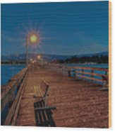 Empty Pier Glow Wood Print by Connie Cooper-Edwards