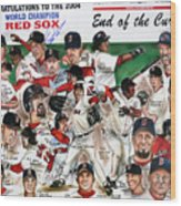 End Of The Curse Red Sox Newspaper Poster Wood Print by Dave Olsen