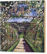 English Rose Trellis Wood Print by David Lloyd Glover