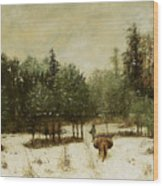 Entrance To The Forest In Winter Wood Print by Cherubino Pata
