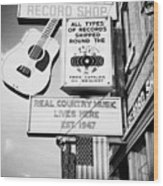 ernest tubbs record shop on broadway downtown Nashville Tennessee USA Wood Print by Joe Fox