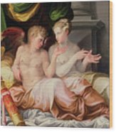 Eros And Psyche Wood Print by Niccolo dell Abate