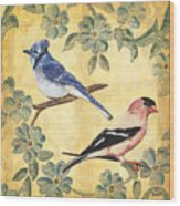 Exotic Bird Floral And Vine 1 Wood Print by Debbie DeWitt