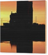 Eyebrow Gain Elevator Reflected Off Water After Sunset Wood Print by Mark Duffy