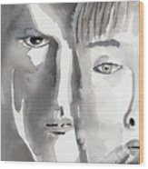 Faces Wood Print by Arline Wagner