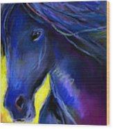 Fantasy Friesian Horse Painting Print Wood Print by Svetlana Novikova
