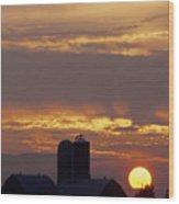 Farm At Sunset Wood Print by Steve Somerville