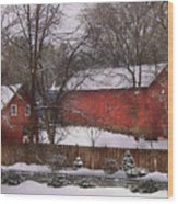 Farm - Barn - Winter In The Country  Wood Print by Mike Savad