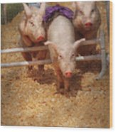 Farm - Pig - Getting Past Hurdles Wood Print by Mike Savad