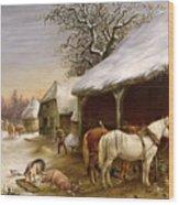 Farmyard In Winter  Wood Print by Henry Woollett