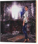 Fashion Model In Jeans  Wood Print by Milan Karadzic