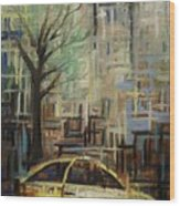 Fast City II Wood Print by Janel Bragg