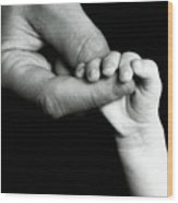 Father Holding Hand Of Baby Wood Print by Sami Sarkis