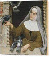 Feeding The Pigeons Wood Print by Eugen von Blaas