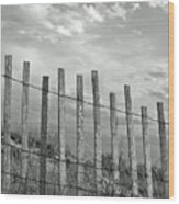 Fence At Jones Beach State Park. New York Wood Print by Gary Koutsoubis