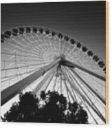 Ferris Wheel Wood Print by Leslie Leda