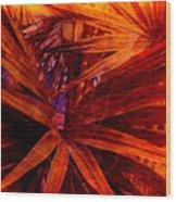 Fiery Palm Wood Print by Susanne Van Hulst