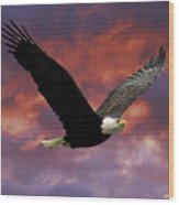 Fire Cloud And Eagle Wood Print by Clarence Alford