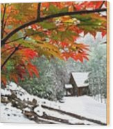 Fire Fog And Snowy Fence Wood Print by Debra and Dave Vanderlaan