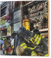 Fireman - Always Ready For Duty Wood Print by Lee Dos Santos