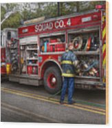 Firemen - The Modern Fire Truck Wood Print by Mike Savad