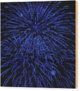 Firework Blues Wood Print by DigiArt Diaries by Vicky B Fuller