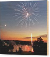 Fireworks And Sunset Wood Print by Amber Flowers