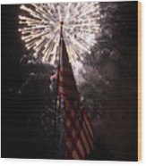 Fireworks Behind American Flag Wood Print by Alan Look