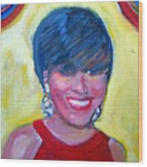 First Lady In Red Wood Print by Patricia Taylor