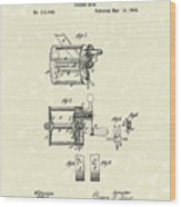 Fishing Reel 1885 Patent Art Wood Print by Prior Art Design