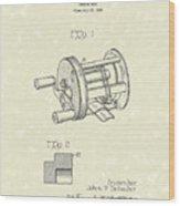 Fishing Reel 1937 Patent Art Wood Print by Prior Art Design