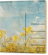 Floral In Blue Sky Postcard Wood Print by Setsiri Silapasuwanchai
