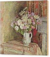 Flowers In A Vase Wood Print by Edouard Vuillard