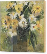 Flowers In White And Yellow Wood Print by Nira Schwartz