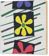 Flowers Three Wood Print by Teddy Campagna