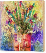 Flowery Illusion Wood Print by Arline Wagner