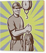 Fly Fisherman Weighing In Fish Catch  Wood Print by Aloysius Patrimonio