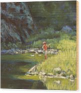 Fly Fishing Wood Print by Billie Colson
