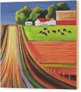 Folk Art Farm Wood Print by Toni Grote