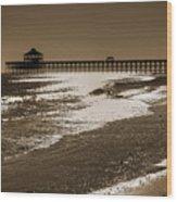 Folly Pier Sunset Wood Print by Drew Castelhano