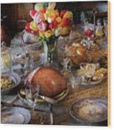 Food - Easter Dinner Wood Print by Mike Savad